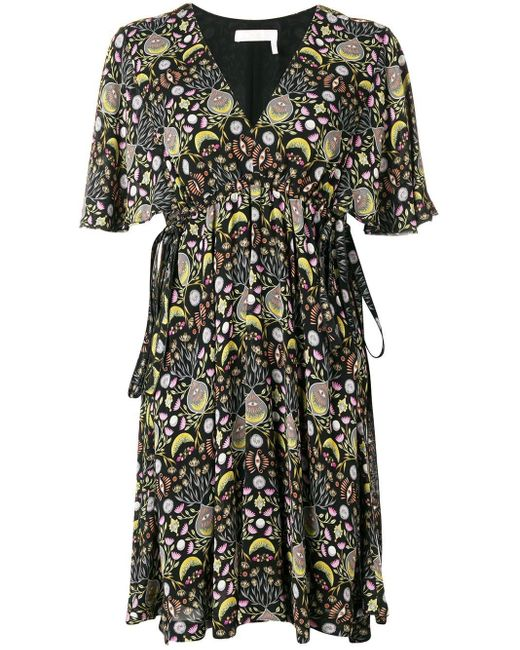 Chloé Black Printed Ruffle Mini Dress