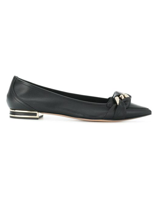Casadei - Black Wrapped Chain Ballerina Flats - Lyst