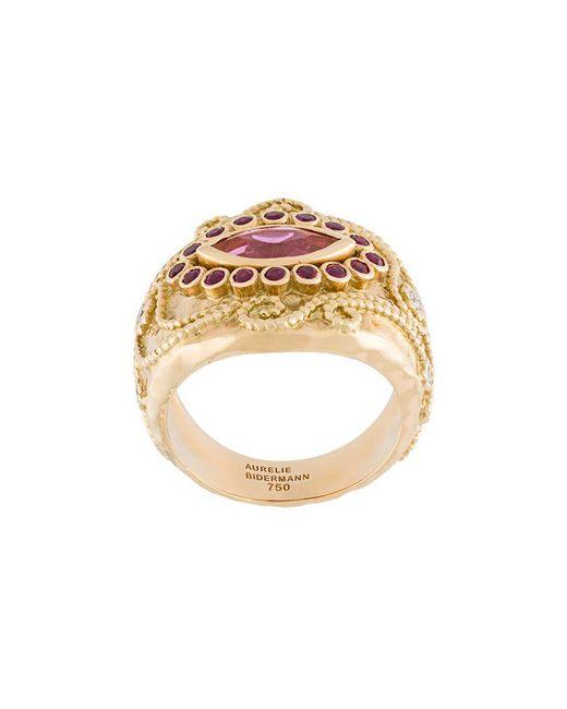 Aurelie Bidermann - Metallic 'cashmere' Rubellite, Diamond And Ruby Ring - Lyst