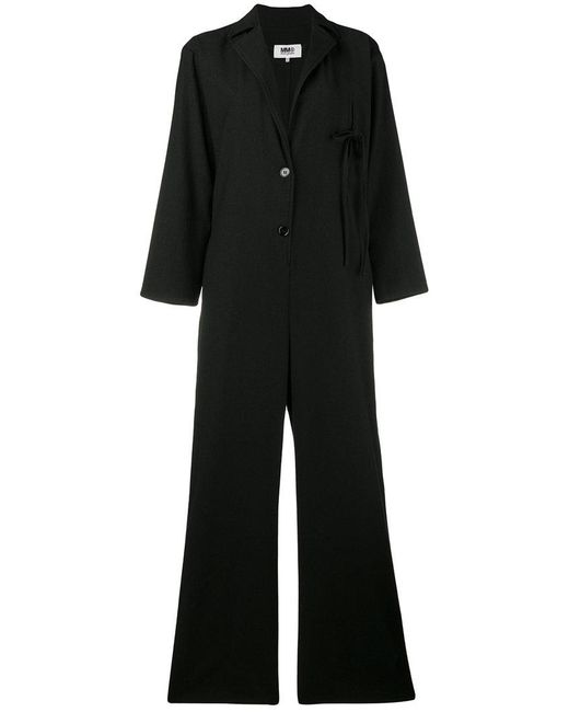 MM6 by Maison Martin Margiela - Black Ribbon Detail Jumpsuit - Lyst