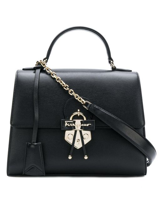 Ferragamo - Black Gancio Embellished Top Handle Bag - Lyst