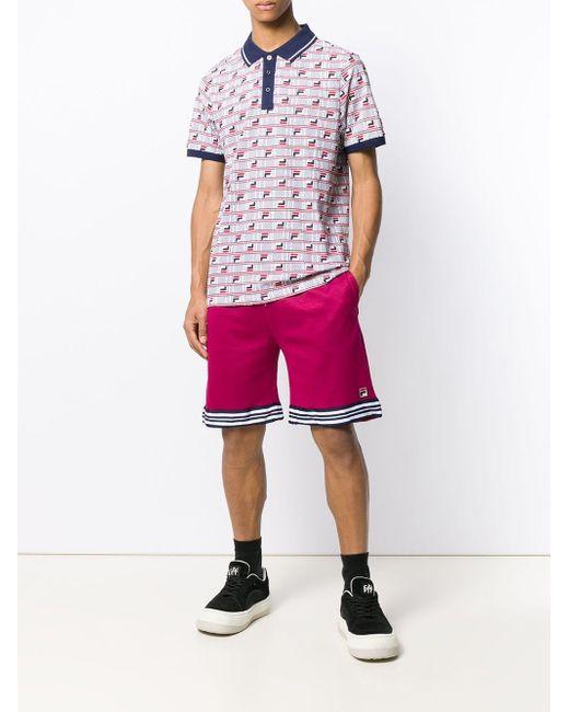 ba1ab813 ... Fila - White Logo Print Polo Shirt for Men - Lyst ...