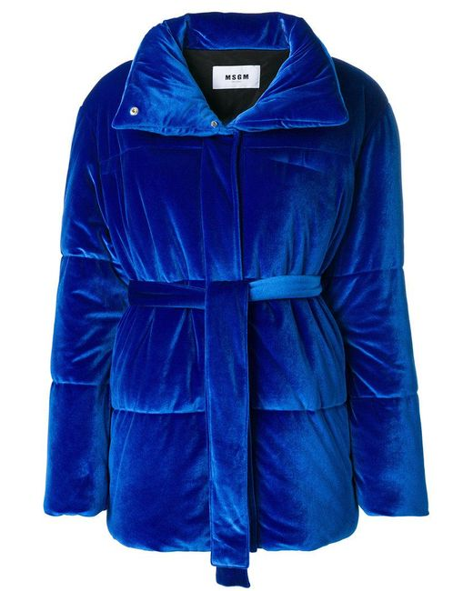 MSGM - Blue Puffer Textured Jacket - Lyst