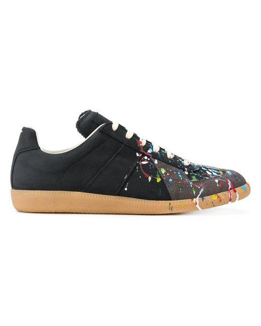6529cab4f513 Maison Margiela - Black Replica Paint-splatter Sneakers for Men - Lyst ...