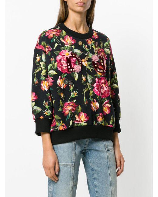 Lyst Dolce Gabbana Felpa Con Decorazione Floreale In Black