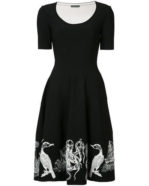 Alexander McQueen   Black Embroidered Flared Dress   Lyst
