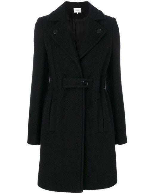 Carven | Black Notched Lapels Belted Coat | Lyst