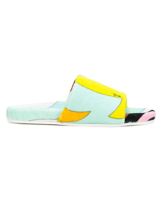 Emilio Pucci - Yellow Printed Pool Slides - Lyst