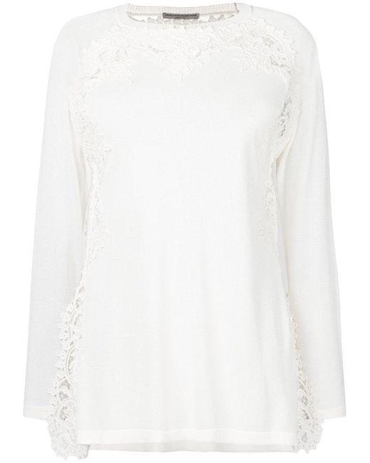 Ermanno Scervino - White Embroidered Trim Top - Lyst