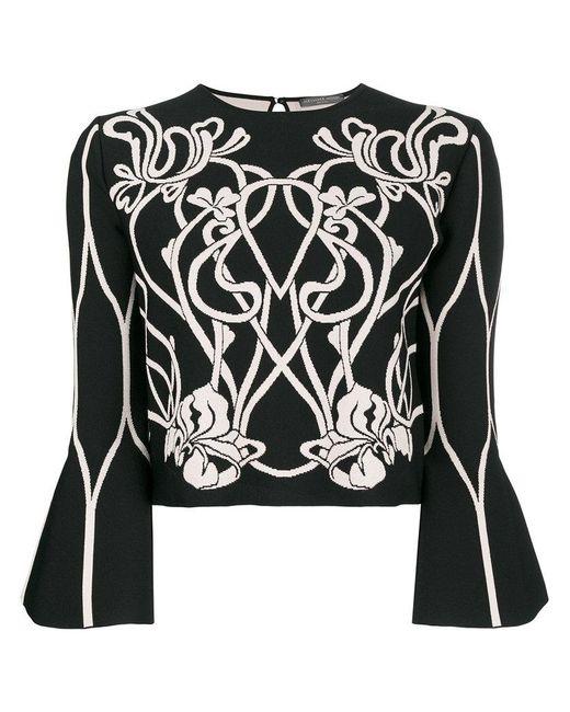 Alexander McQueen - Black Baroque Floral Knit Top - Lyst