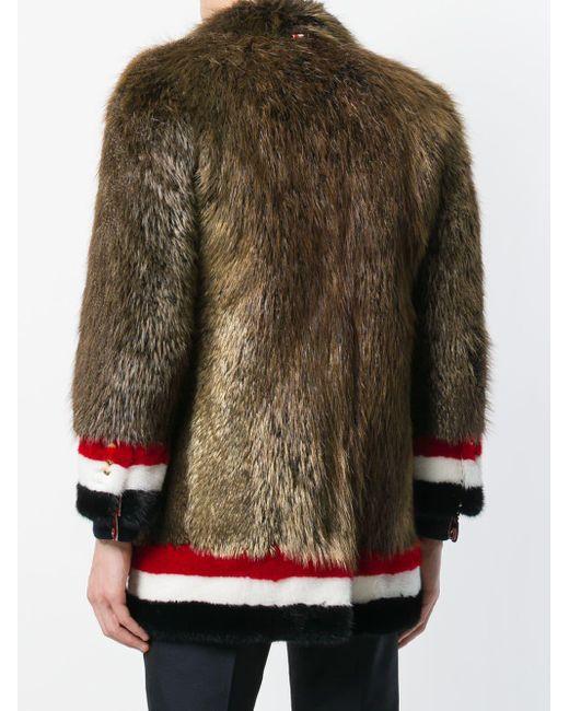 fad5f1d5911e ... Thom Browne - Brown Painted Beaver Fur Sack Overcoat for Men - Lyst