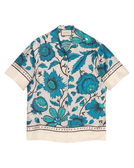 Gucci - White Bowling Shirt With Watercolor Flowers - Lyst