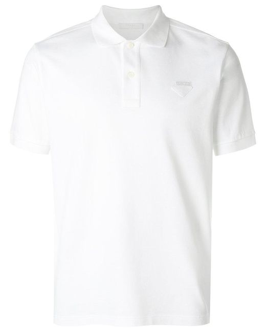 Prada | White Logo Patch Polo Shirt for Men | Lyst