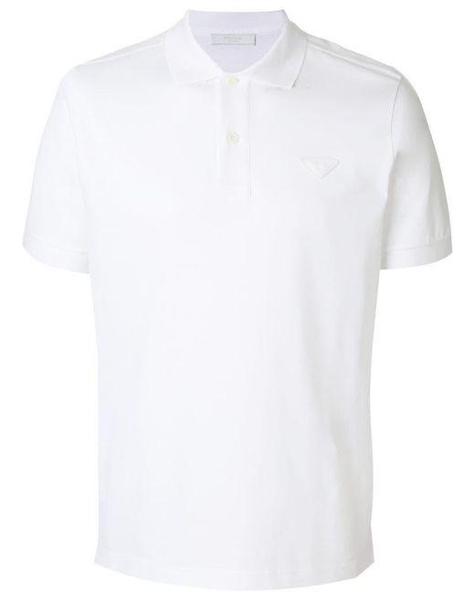 Prada - White Logo Patch Polo Shirt for Men - Lyst