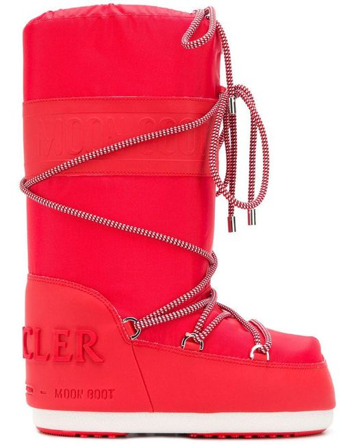 3d1e8b47f462 Moncler X Moonboot Lace Boots in Red - Lyst