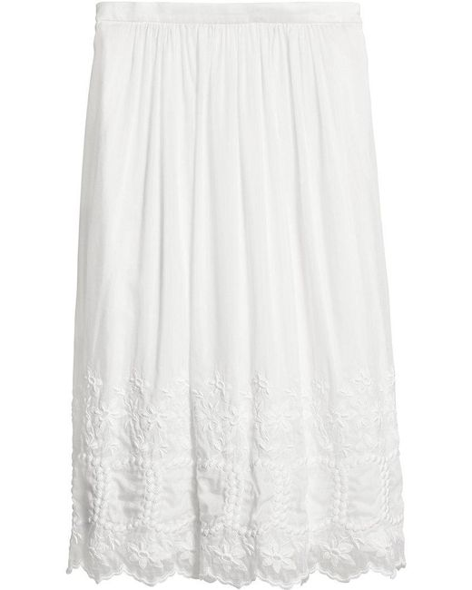 Burberry - White Embroidered Voile Skirt - Lyst