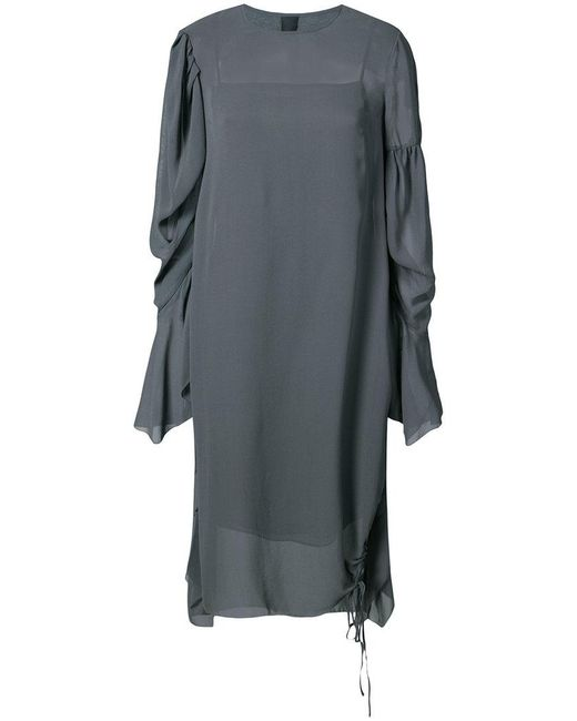 Vera Wang - Gray Draped Sleeves Shift Dress - Lyst