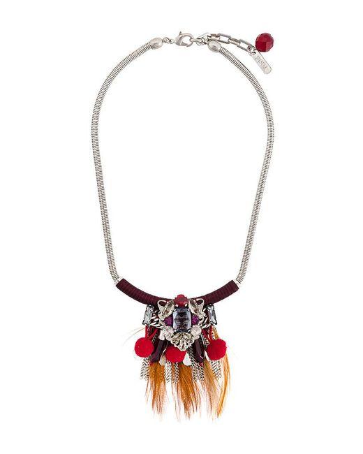 Rada' - Metallic Feather Pendant Necklace - Lyst