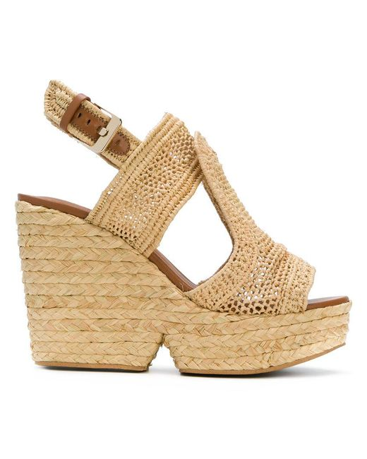 Clergerie - Natural Woven Wedge Sandals - Lyst