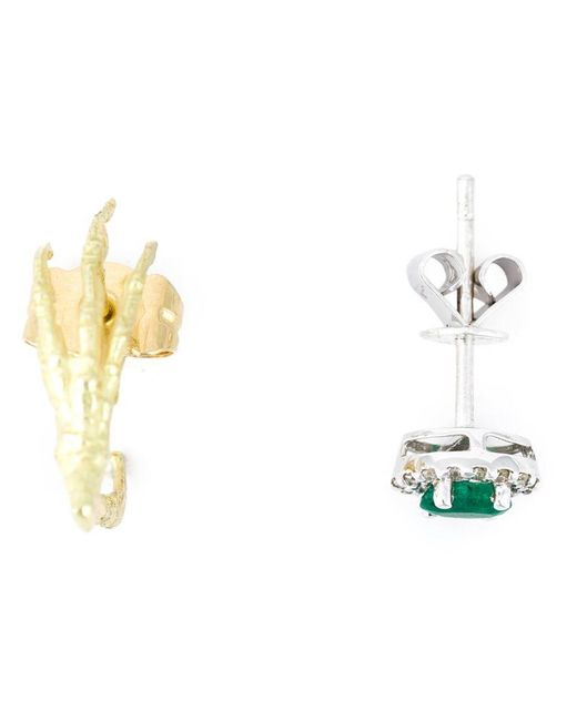Wouters & Hendrix - Green Claw & Emerald Stud Set Of Earrings - Lyst
