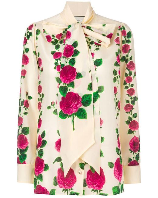 Gucci - Multicolor Rose Print Pussybow Blouse - Lyst