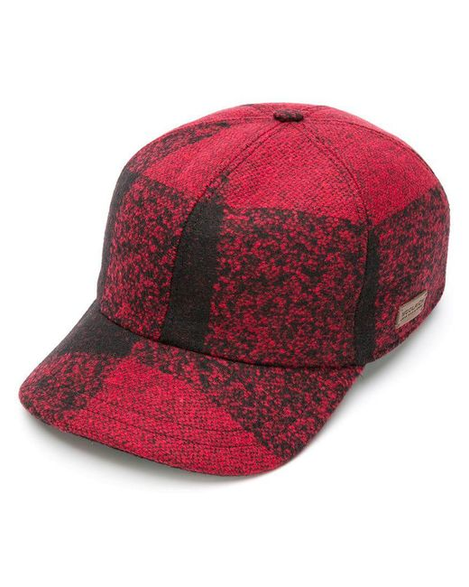 Woolrich - Red Checked Baseball Cap for Men - Lyst