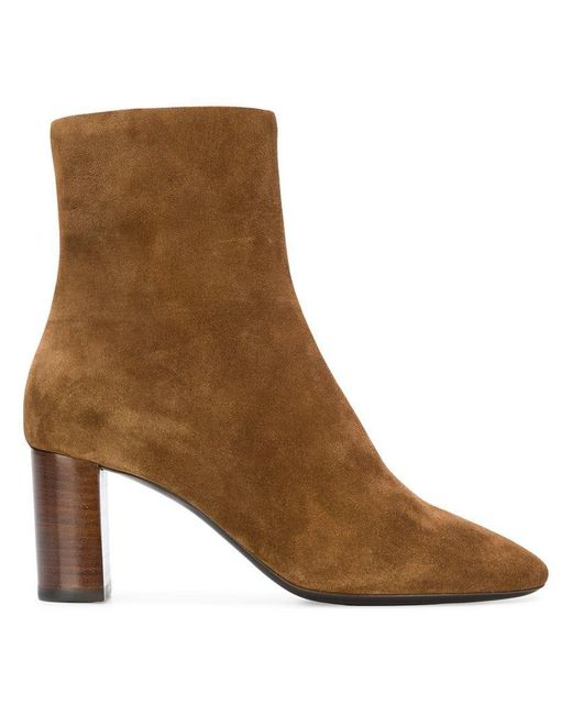 Saint Laurent - Brown Almond Toe Ankle Boots - Lyst