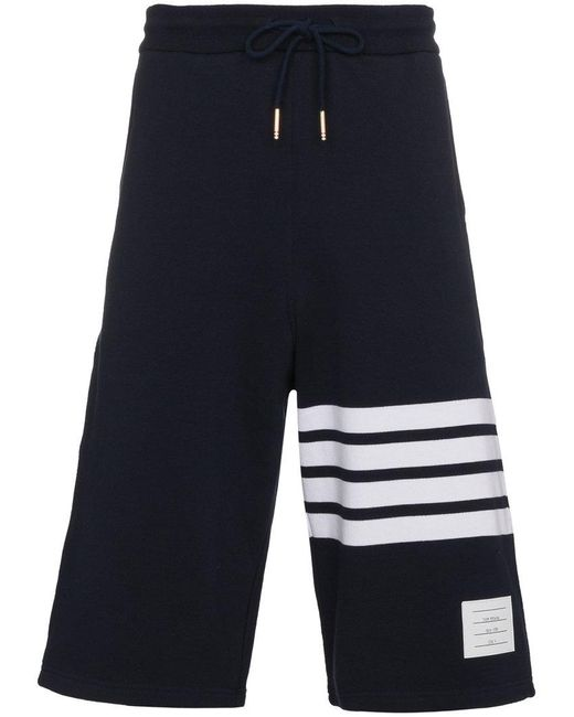 Thom Browne | Blue Sweatshorts With Engineered 4-bar Stripe Are for Men | Lyst