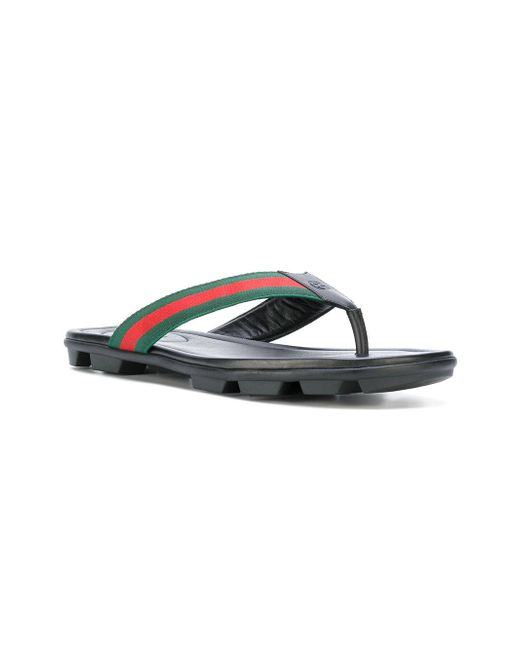 f877f7ce4be7 Gucci Web Trim Flip Flops in Black for Men - Save 13% - Lyst