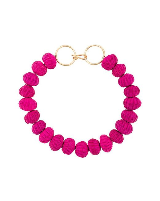 Carolina Herrera - Pink Raffia Beads Necklace - Lyst