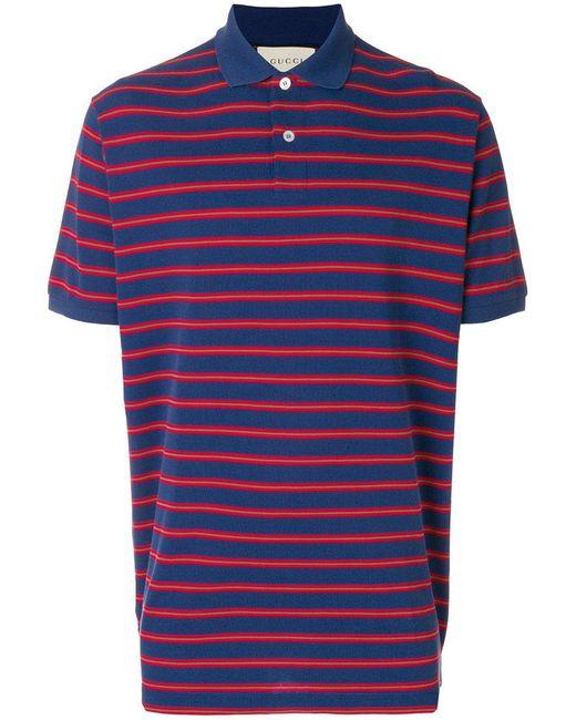 ad70757e Gucci - Blue Stonewashed Stripe Polo Shirt for Men - Lyst ...