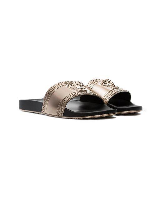 dc219e273c61f ... Versace - Metallic Gold-tone Medusa Embossed Slides for Men - Lyst ...