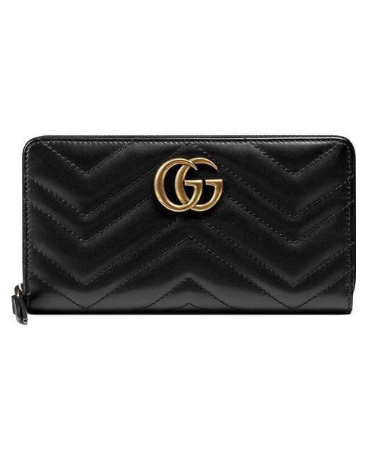 105232f61e8 Gucci - Black GG Marmont Zip Around Wallet - Lyst ...