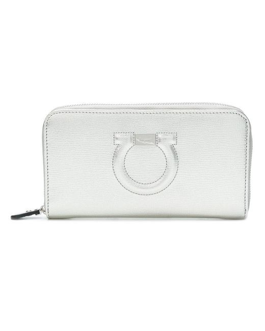 Ferragamo - Metallic Gancini Zip Around Wallet - Lyst