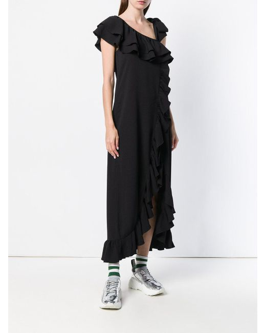 Outlet Store Sale Online asymmetric ruffled dress - Black Ganni Cheap Choice Clearance For Nice Sale Big Discount oJ41L