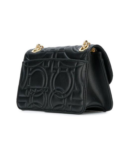 8598459957 Lyst - Ferragamo Large Quilted Leather Shoulder Bag in Black - Save 28%