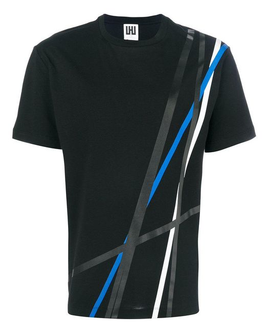 Les Hommes - Black Line Print T-shirt for Men - Lyst