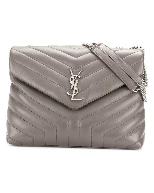 Saint Laurent   Gray Medium Loulou Chain Bag   Lyst