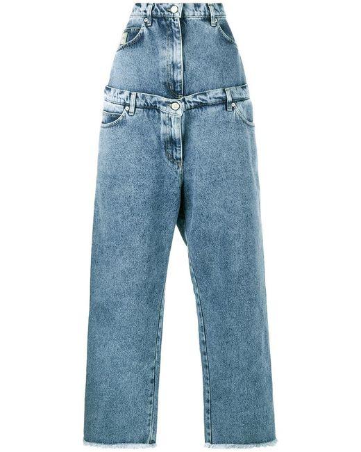 Natasha Zinko - Blue Layered Wide Leg Jeans - Lyst