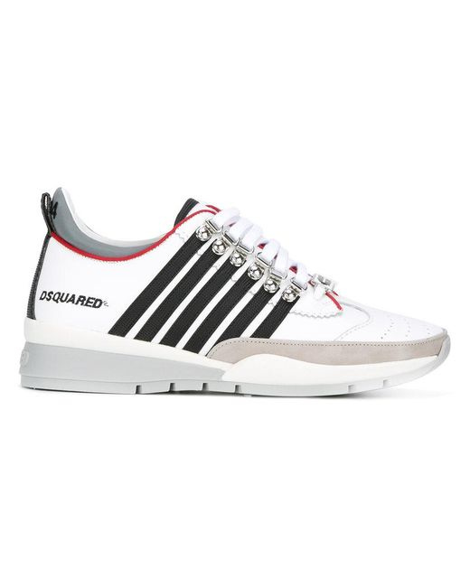 DSquared² | White Stripe Panel Sneakers for Men | Lyst