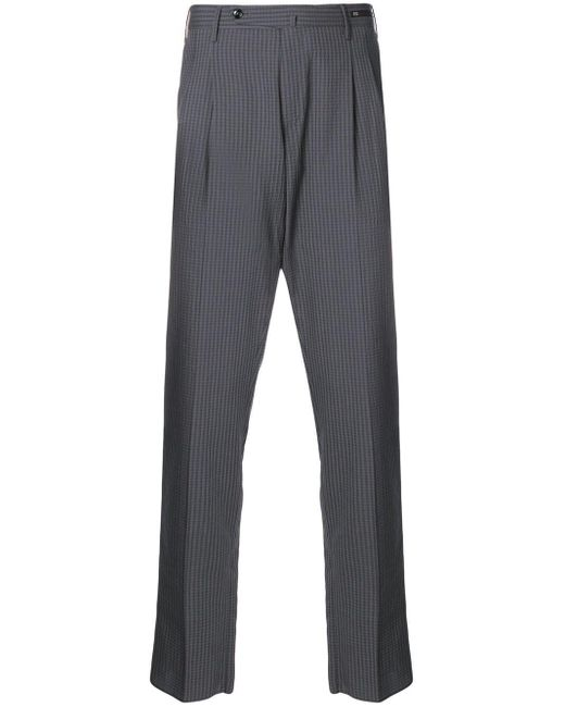 PT01 Gray Checked Trousers for men