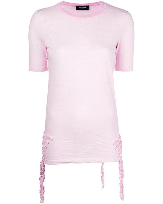 DSquared² - Pink Ruffle-trimmed T-shirt - Lyst