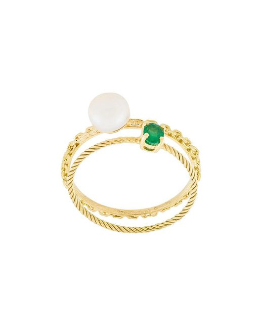 Wouters & Hendrix - Metallic Pearl & Emerald Set Of Rings - Lyst