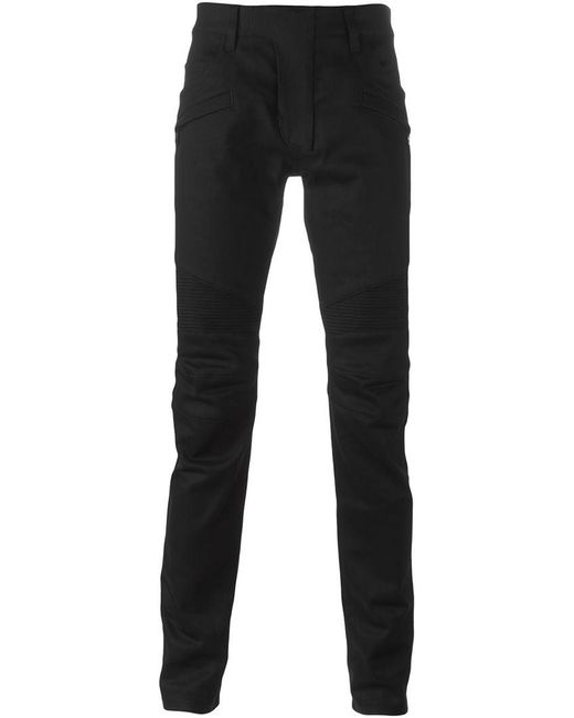 Balmain - Black Raw Denim Biker Jeans for Men - Lyst