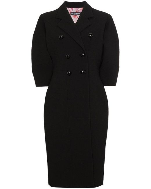 Dolce & Gabbana - Black Double Breasted Bell Sleeve Coat - Lyst
