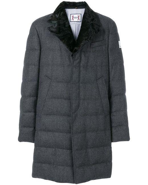 Moncler Gamme Bleu   Gray Fox Fur Collar Padded Trench Coat for Men   Lyst