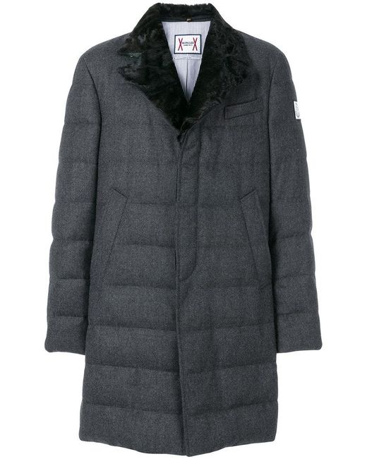Moncler Gamme Bleu | Gray Fox Fur Collar Padded Trench Coat for Men | Lyst