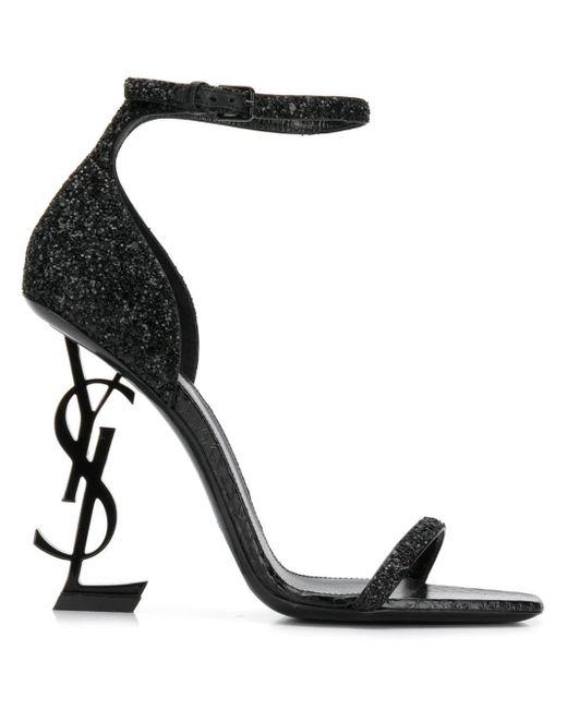 3df477038eb Saint Laurent Opyum 110 Ysl Heel Sandals in Black - Lyst