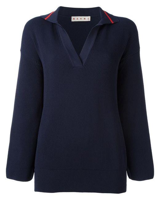Marni | Blue Ribbed Spread Collar Jumper | Lyst