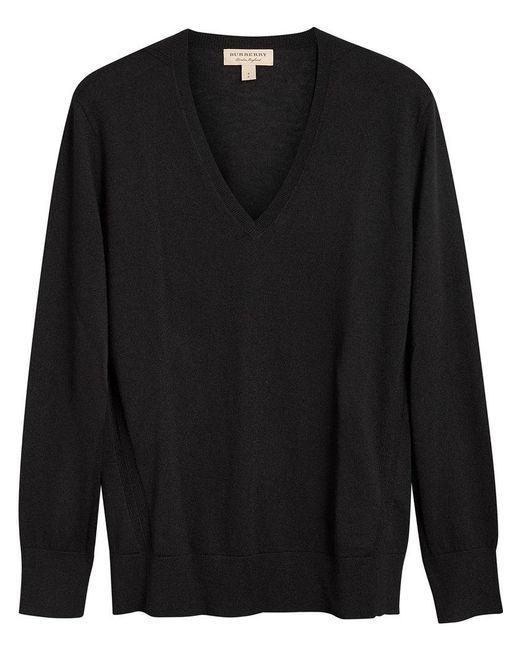 Burberry - Black V-neck Sweater - Lyst